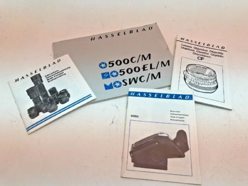 Hasselblad instruction manuals for 500CM , 500ELM, SWC, C lenses, PME prism find